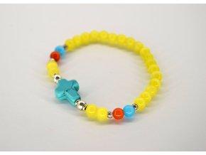 2bears Jewellery Dámský náramek Žlutý modrý a oranžový Opál s křížem z Tyrkysu