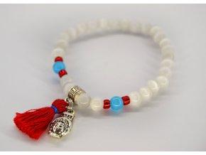 2bears Jewellery Dámský náramek Bílý opál s modrým opálem, střapcem a symbolem Shakyamuni Buddha