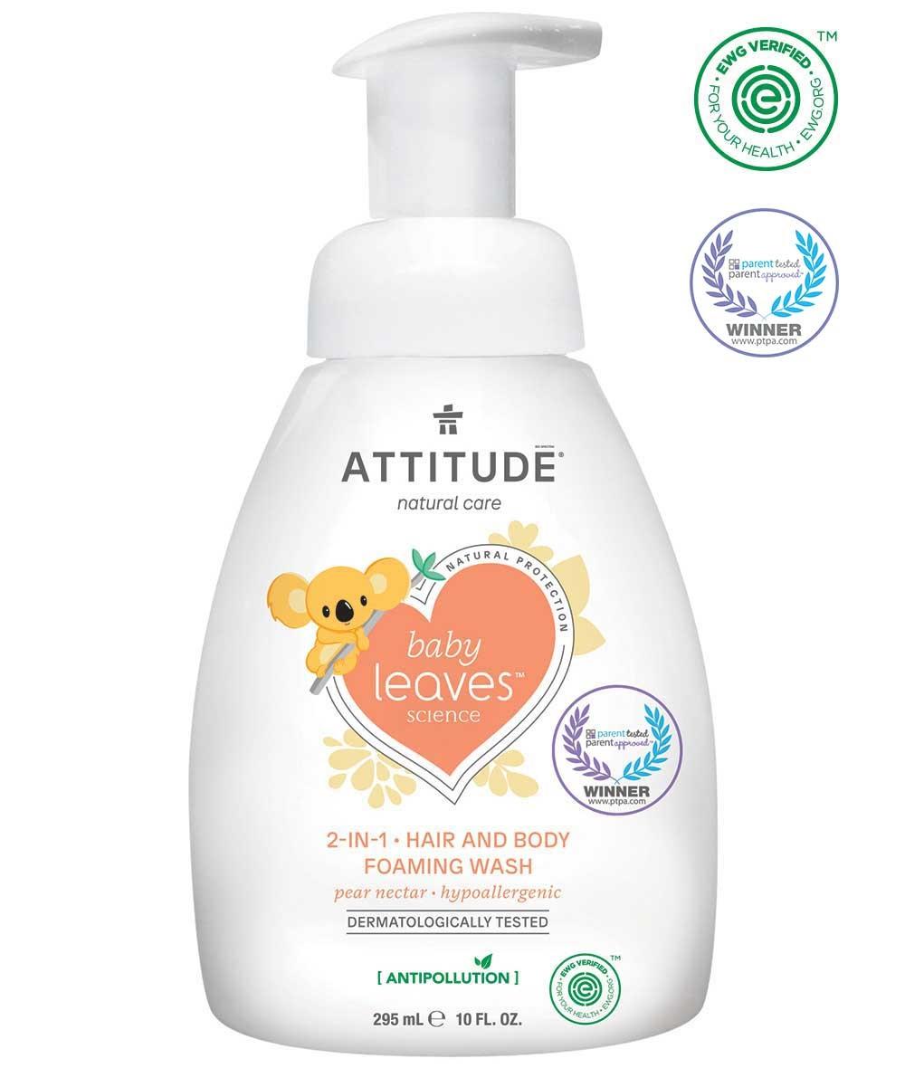 Attitude Dětské tělové mýdlo šampon a kondicionér 3v1 s vůni hruškové šťávy s pumpičkou 300 ml