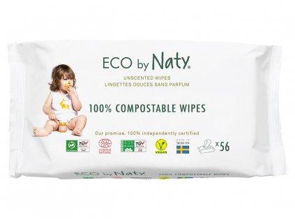 Eco by Naty Babycare Vlhčené obrúsky bez vône - pre citlivú pokožku 56 ks