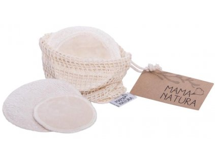Mama Natura Sada kosmetických tamponů z bio bavlněného sametu 4 ks malý + 2 ks velký