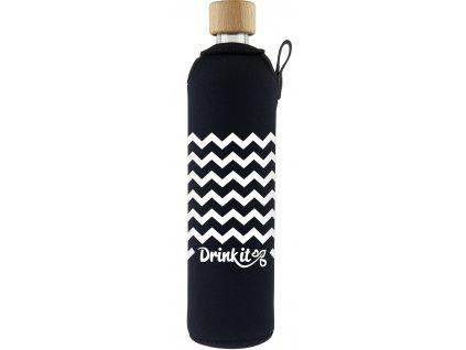 Drinkit Skleněná láhev s neoprénovým obalem Cikcak 500 ml