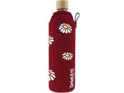 Drinkit Skleněná láhev s neoprénovým obalem Kopretiny 700 ml