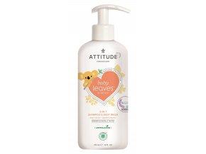 Attitude Baby Leaves Detské telové mydlo šampón a kondicionér 2v1 s vôňu hruškovej šťavy s pumpičkou 473 ml