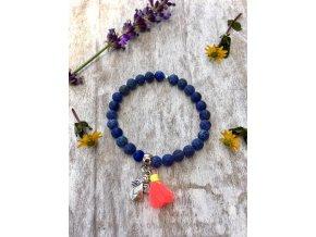 2bears Jewellery Dámsky náramok z polodrahokamu Lapis Lazuli s hodvábnym strapcom a symbolom Anjela