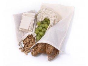 Casa Organica Sada plátěných sáčků na potraviny z biobavlny – malé 3 ks