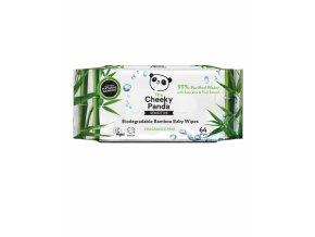 The Cheeky Panda dětské vlhčené bambusové ubrousky 100% rozložitelné 64ks