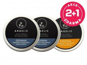 Angelic 2 + 1 ZADARMO Organický deodorant Odvaha + Exotika