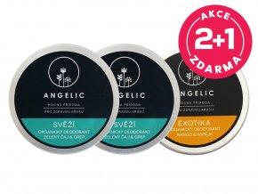 Angelic 2 + 1 ZADARMO Organický deodorant Svěží + Exotika