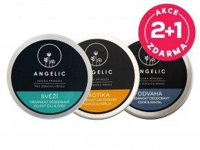 Angelic 2 + 1 ZADARMO Organický deodorant Odvaha + Exotika + Svěží