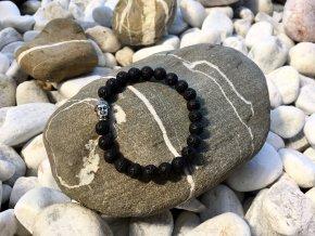 Dámsky náramok z lávových kameňov sa symbolom Budha