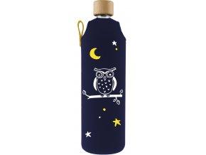 Drinkit Sklenená fľaša s neoprénovým obalom Sova 700ml