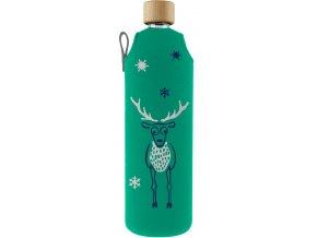 Drinkit Sklenená fľaša s neoprénovým obalom Jelen 700ml