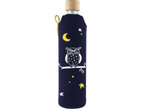 Drinkit Skleněná láhev s neoprénovým obalem Sova 500 ml