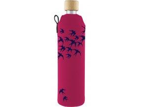 Drinkit Sklenená fľaša s neoprénovým obalom Lastovičky 500ml
