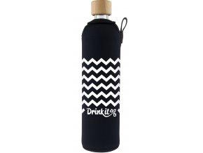 Drinkit Sklenená fľaša s neoprénovým obalom Cikcak 500ml