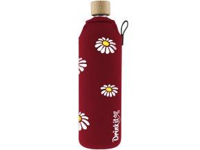 Drinkit Sklenená fľaša s neoprénovým obalom Kopretiny 700ml