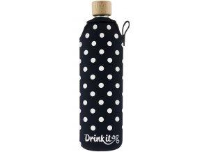 Drinkit Sklenená fľaša s neoprénovým obalom Bodky 700ml