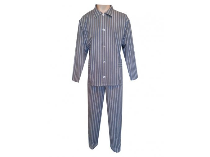 Pánské Pyžamo Plátěné FOLTÝN PP01 šedý proužek