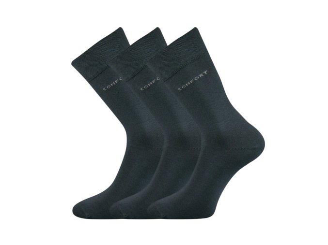 Společenské ponožky 3 kusy v balení Lonka Comfort tmavě šedá