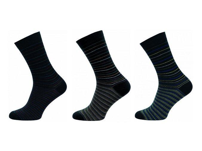 Pánské společenské ponožky Novia 3 páry v balení proužek