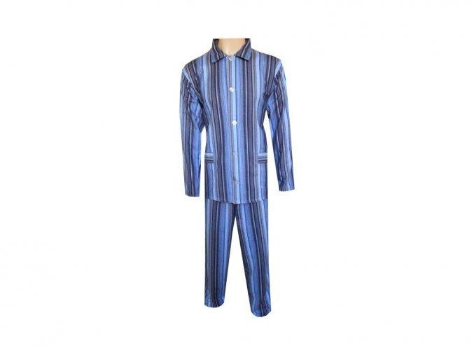 Pánské Pyžamo Plátěné Nadměrné FOLTÝN PPN07 modročerný proužek