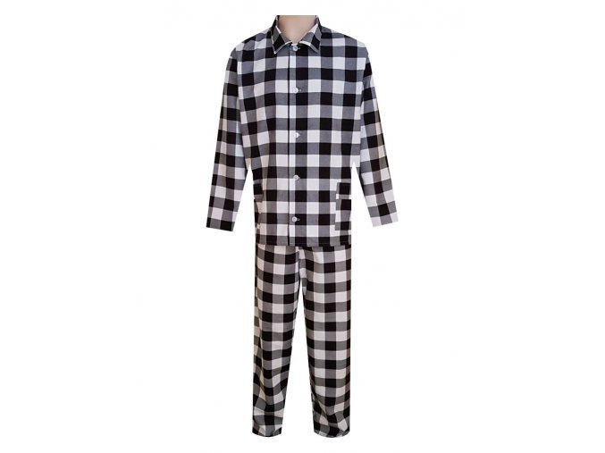Pánské Pyžamo Flanelové FOLTÝN PF15 černobílá kostka