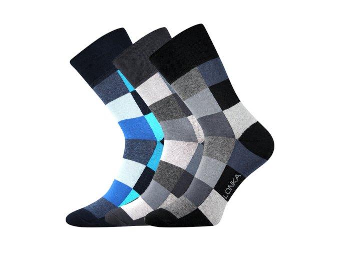 Společenské ponožky 3 kusy v balení Lonka Decube mix B