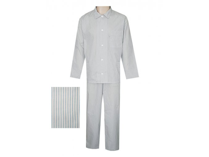 Pánské Pyžamo Popelín FOLTÝN PI08 modrý proužek
