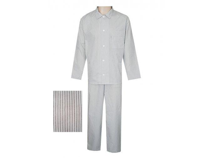 Pánské Pyžamo Popelín FOLTÝN PI09 hnědý proužek