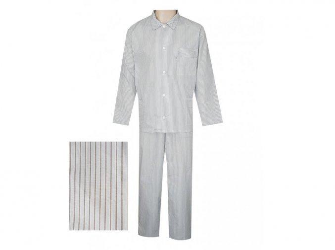 Pánské Pyžamo Popelín FOLTÝN PI13 béžový proužek