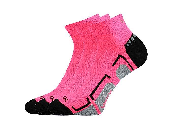 Spotovní ponožky 3 kusy v balení VoXX Flash růžová