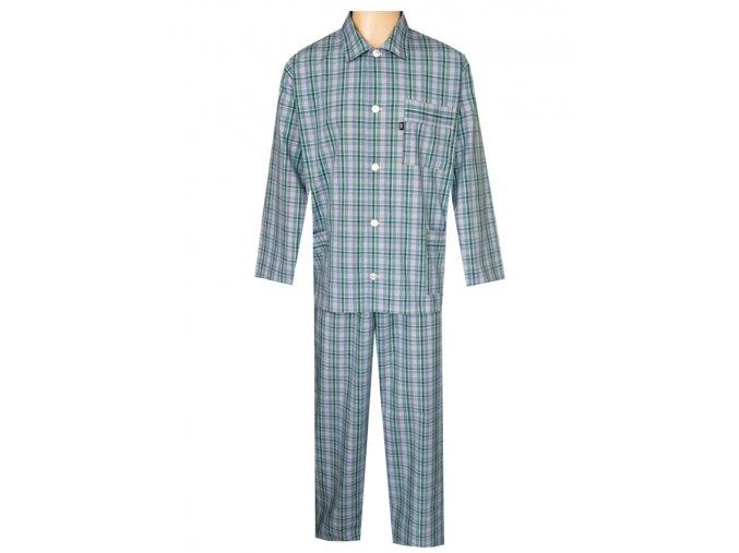 Pánské Pyžamo Popelín FOLTÝN PI26 modrozelená kostka