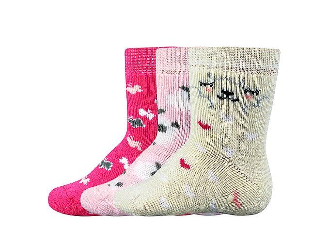 Kojenecké ponožky 3 páry v balení Boma Dona protiskluz dívka