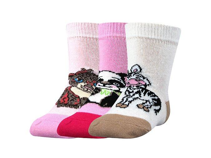 Kojenecké ponožky 3 páry v balení Boma Filípek 01 protiskluz dívka