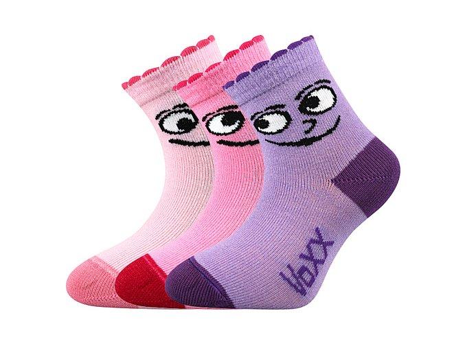 Kojenecké ponožky 3 páry v balení Boma Kukik dívka
