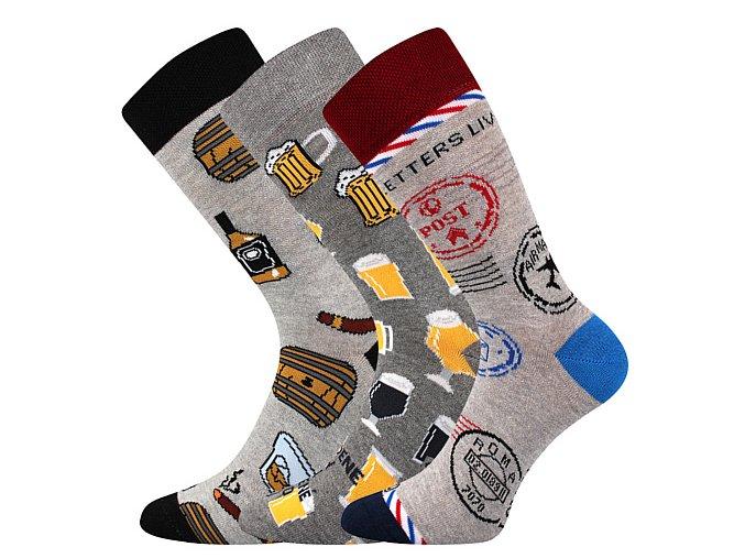Společenské ponožky 3 kusy v balení Lonka Woodoo mix A1