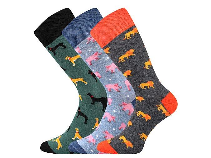 Společenské ponožky 3 kusy v balení Lonka Woodoo mix F1