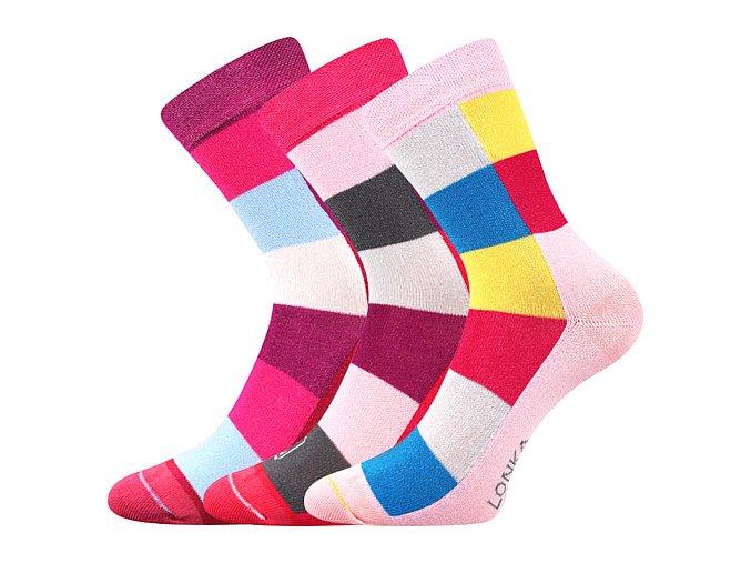 Dětské bambusové ponožky 3 kusy v balení Lonka Bamcubik mix barev B