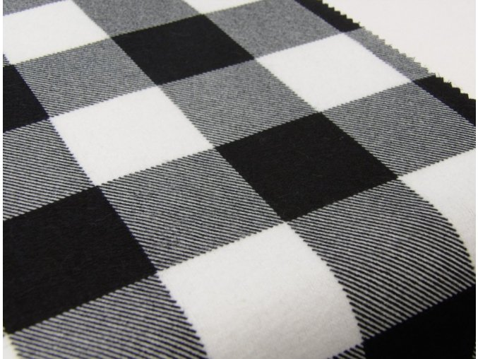 Flanel černo bílá kostka artikl K5