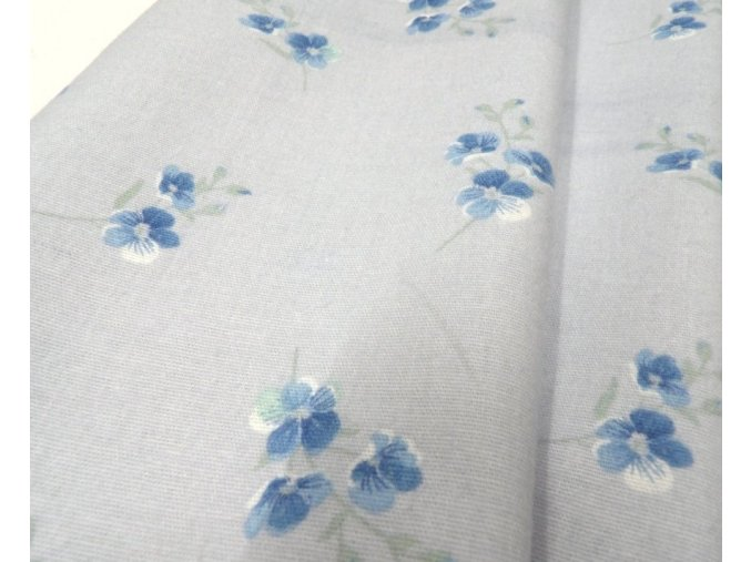 Flanel modré květy artikl 20373