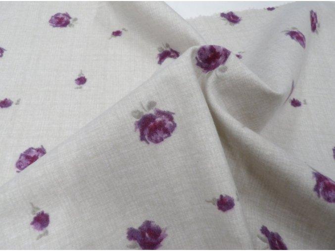 Flanel fialové kvítky artikl 13931