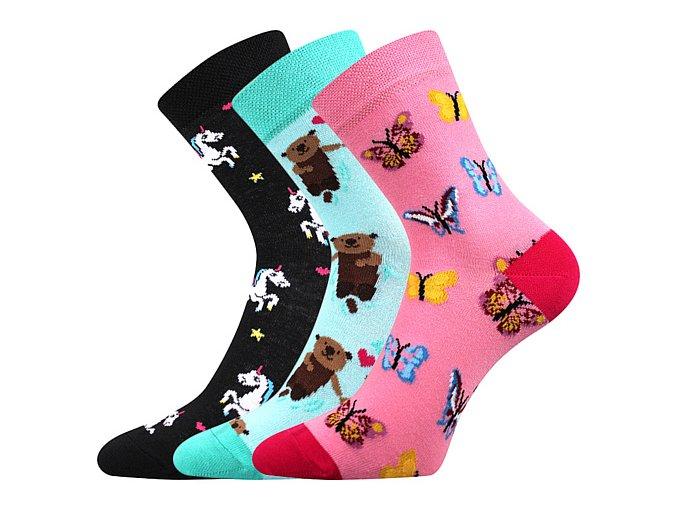 Dětské ponožky 3 kusy v balení Boma 057 21 43 11 mix vzorů C holka