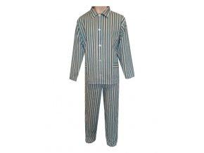 Pánské Pyžamo Plátěné FOLTÝN PP05 zelenohnědý proužek