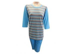 Dámské Pyžamo Krátké FOLTÝN DPK2 modrá, drobné proužky