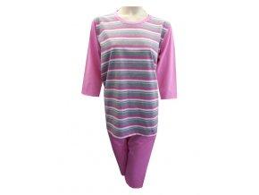 Dámské Pyžamo Krátké FOLTÝN DPK1 růžová, drobné proužky