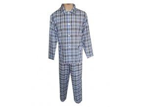 Pánské Pyžamo Popelín FOLTÝN PI01 modrošedá kostka