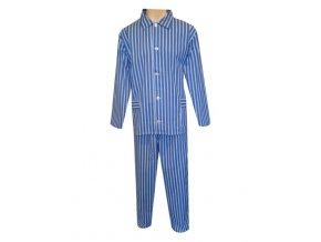 Pánské Pyžamo Plátěné FOLTÝN PP04 modré proužky