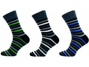 Pánské společenské ponožky Novia 3 páry v balení 175F proužky