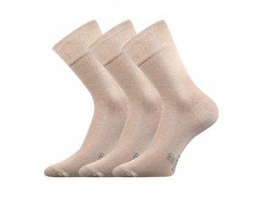 Společenské ponožky 3 kusy v balení Lonka Dasilver béžová